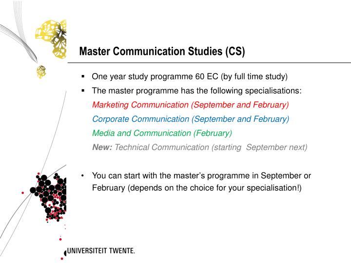 Master Communication Studies (CS)