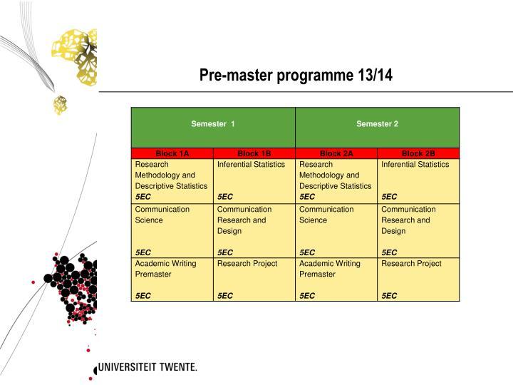 Pre-master programme 13/14