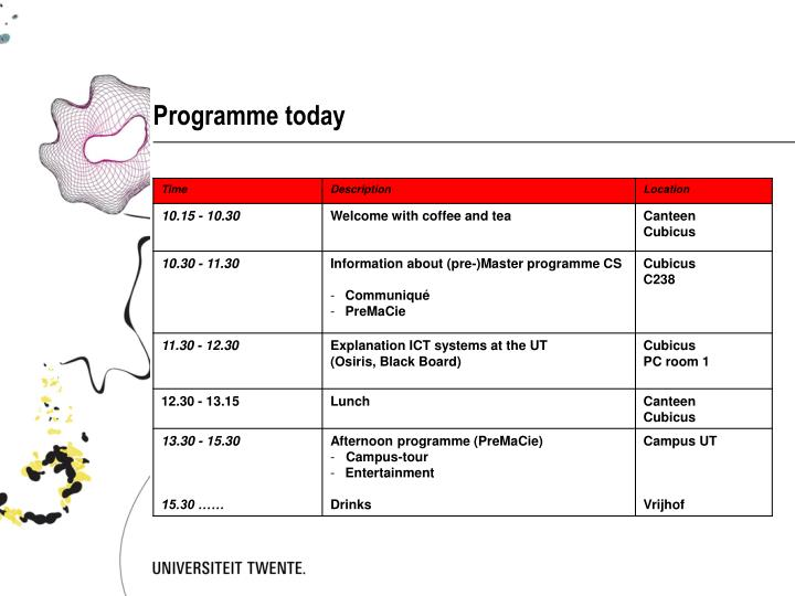 Programme today