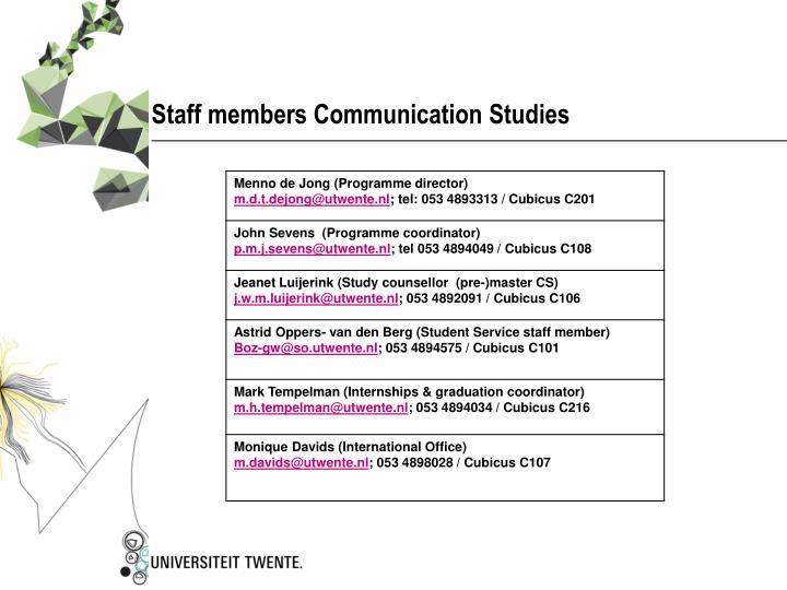Staff members Communication Studies