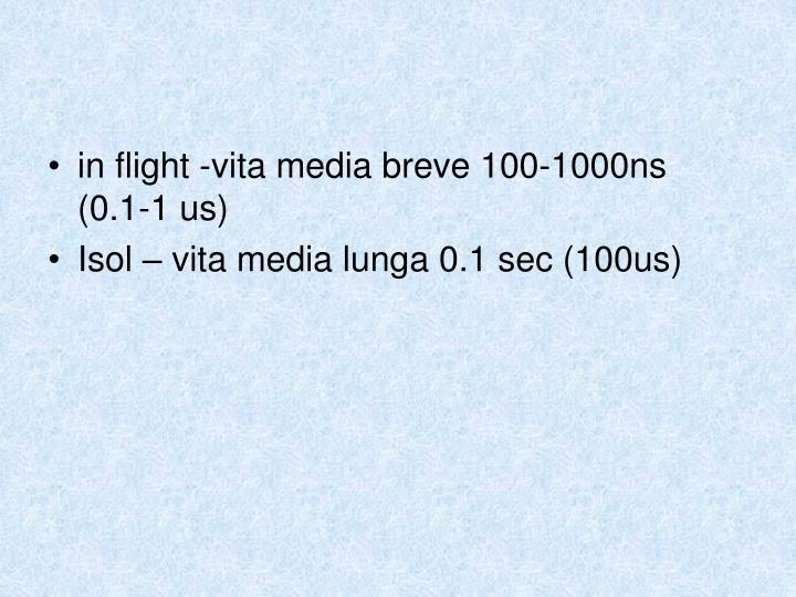 in flight -vita media breve 100-1000ns (0.1-1 us)