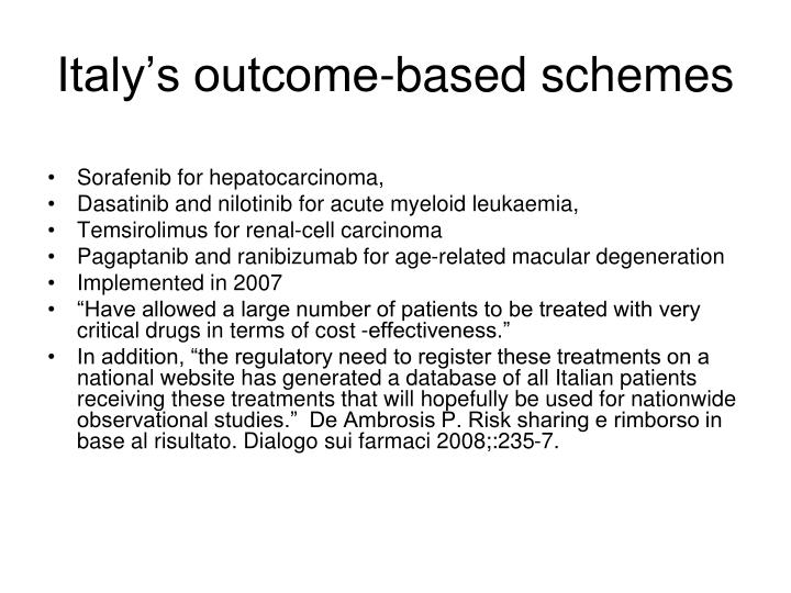 Italy's outcome-based schemes