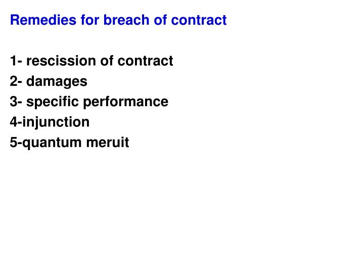 Ppt - Remedies For Breach Of Contract 1- Rescission Of Contract 2