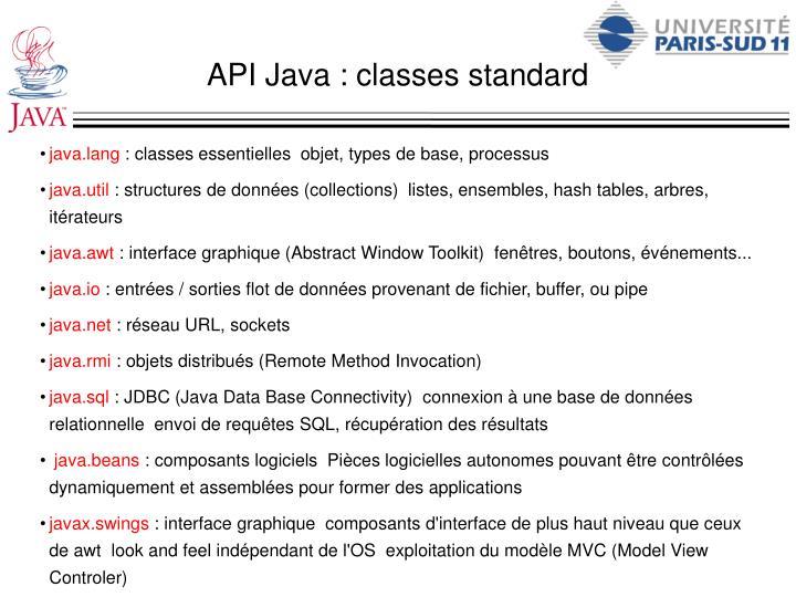 API Java : classes standard