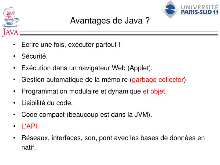 Avantages de Java ?