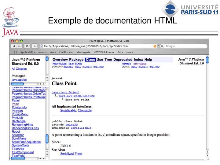 Exemple de documentation HTML