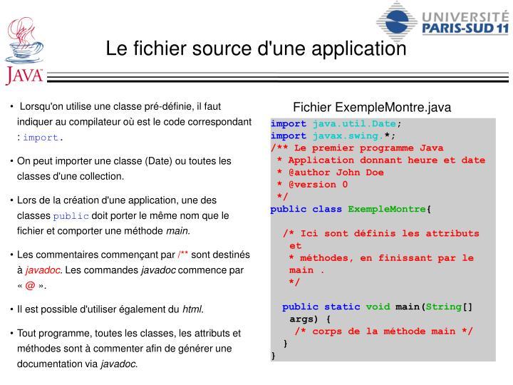 Le fichier source d'une application