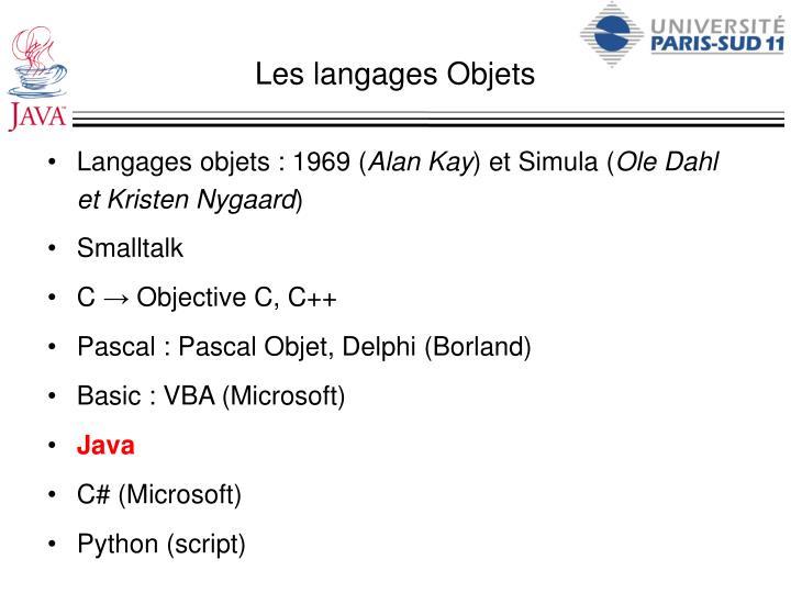 Les langages Objets