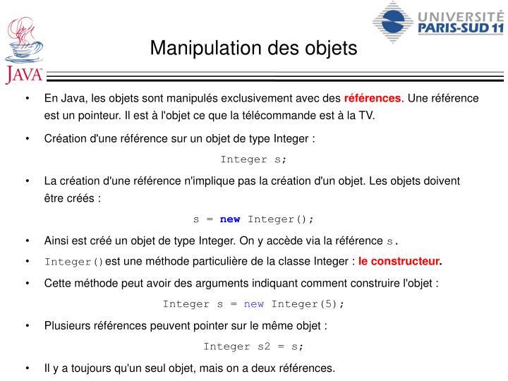 Manipulation des objets