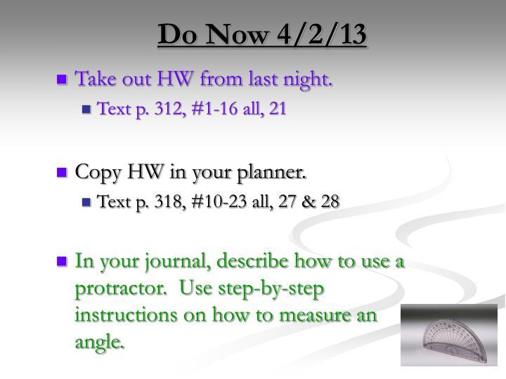 Do Now 4/2/13