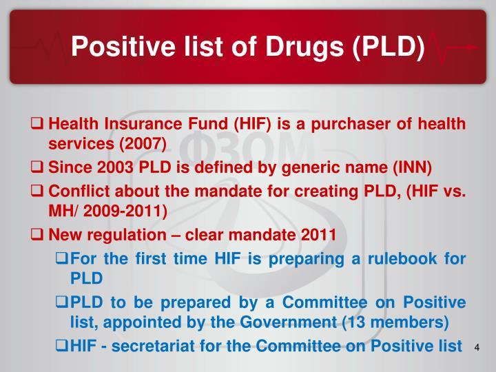 Positive list of Drugs (PLD)