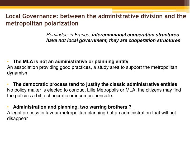 Local governance between the administrative division and the metropolitan polarization