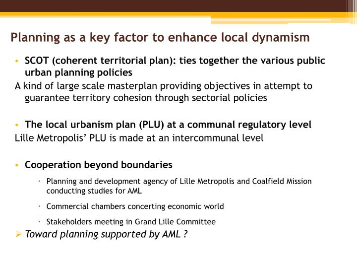 Planning as a key factor to enhance local dynamism