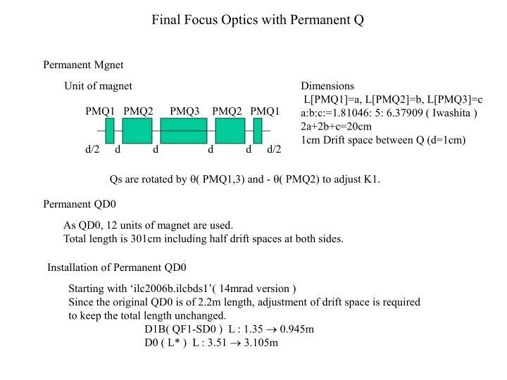 final focus optics with permanent q