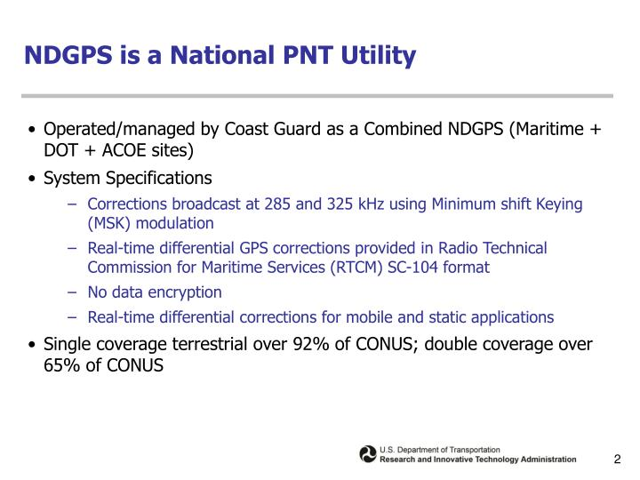Ndgps is a national pnt utility