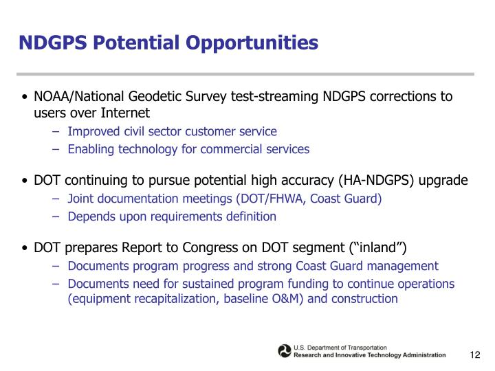 NDGPS Potential Opportunities