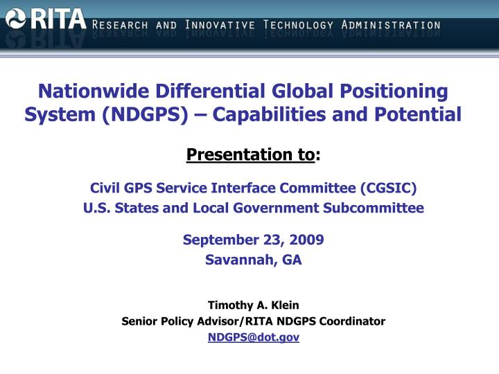 Nationwide Differential Global Positioning System (NDGPS) – Capabilities and Potential