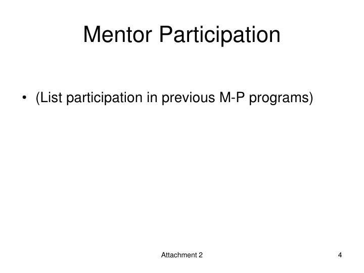 Mentor Participation