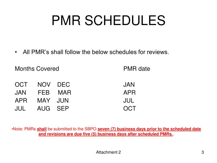 PMR SCHEDULES