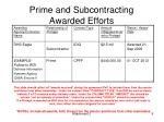 prime and subcontracting awarded efforts