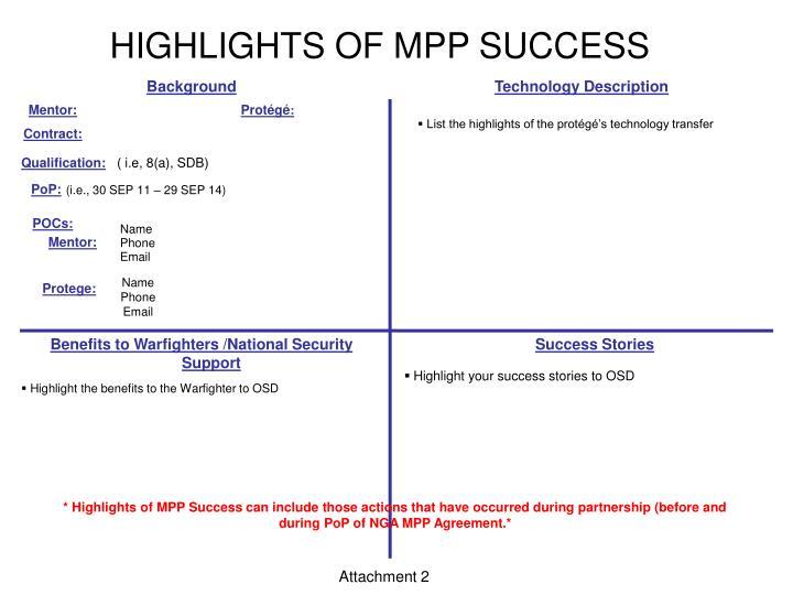 HIGHLIGHTS OF MPP SUCCESS