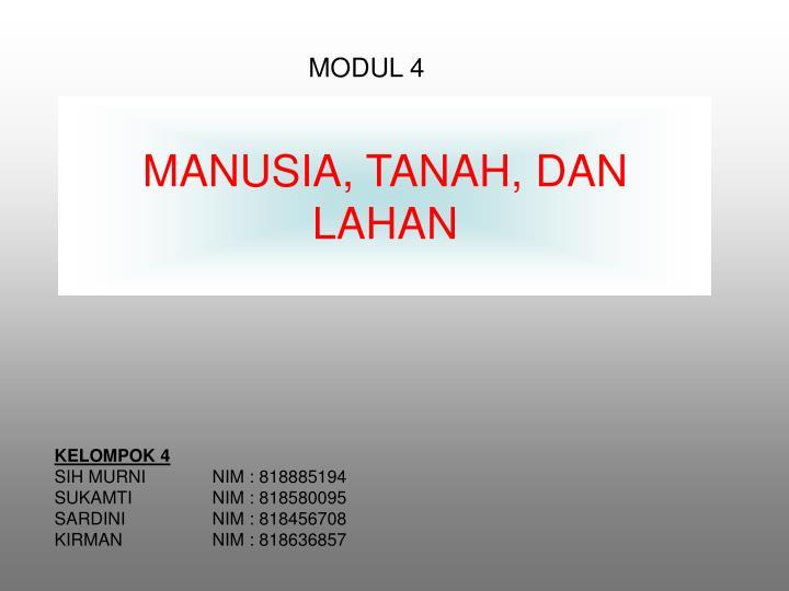 MANUSIA, TANAH
