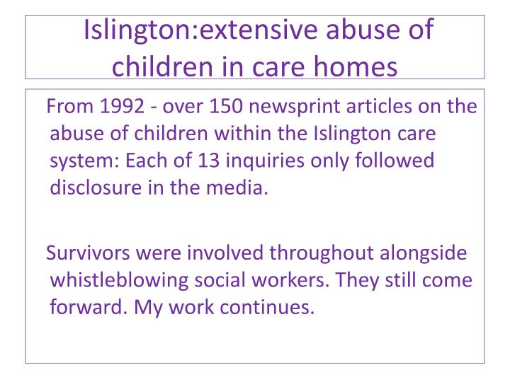 Islington:extensive abuse of children in care homes