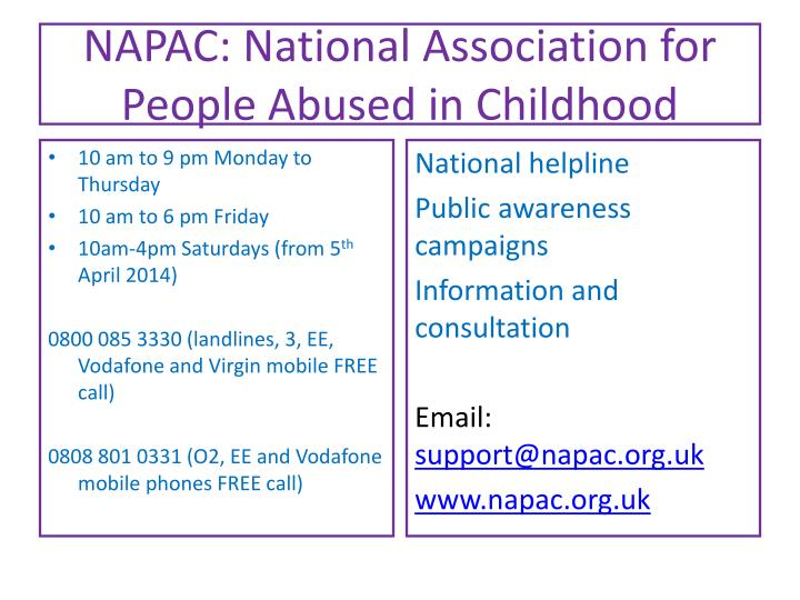 NAPAC: National Association for People Abused in Childhood