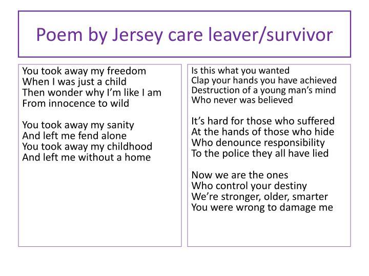 Poem by Jersey care leaver/survivor