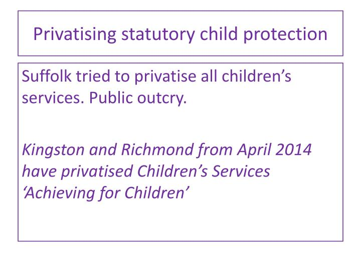 Privatising statutory child protection