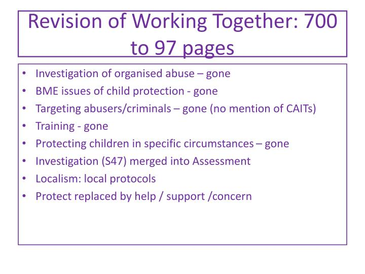 Revision of Working Together: 700 to 97 pages