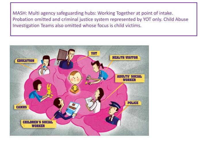 MASH: Multi agency safeguarding hubs: Working Together at point of intake. Probation omitted and criminal justice system represented by YOT only. Child Abuse Investigation Teams also omitted whose focus is child victims.