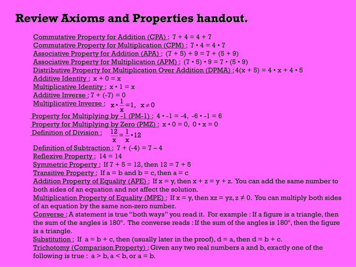 Review Axioms and Properties handout.