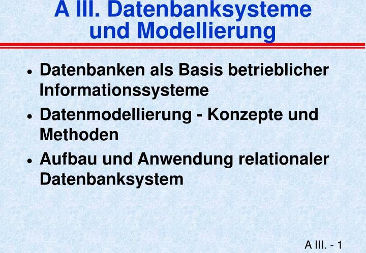 a iii datenbanksysteme und modellierung