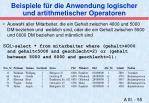 beispiele f r die anwendung logischer und artithmetischer operatoren1
