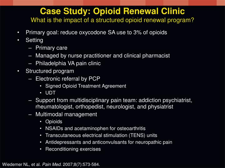 Case Study: Opioid Renewal Clinic