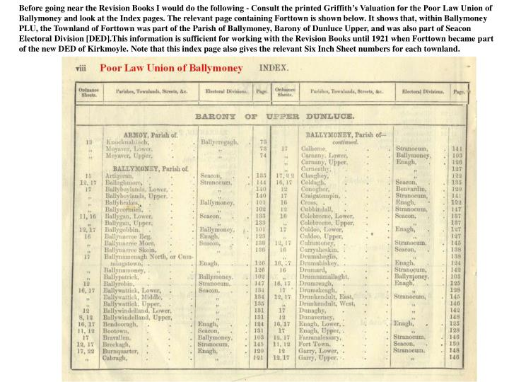 Before going near the Revision Books I would do the following - Consult the printed Griffith's Valuation for the Poor Law Union of Ballymoney and look at the Index pages. The relevant page containing Forttown is shown below. It shows that, within Ballymoney PLU, the Townland of Forttown was part of the Parish of Ballymoney, Barony of Dunluce Upper, and was also part of Seacon Electoral Division [DED].This information is sufficient for working with the Revision Books until 1921 when Forttown became part of the new DED of Kirkmoyle. Note that this index page also gives the relevant Six Inch Sheet numbers for each townland.