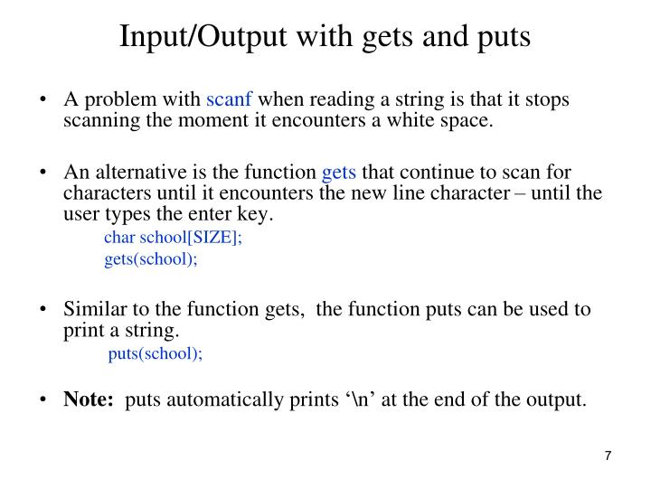 Input/Output with gets and puts