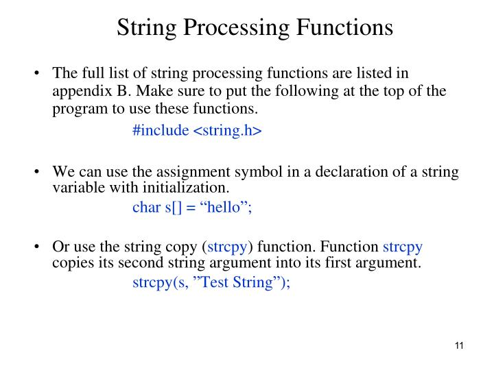 String Processing Functions
