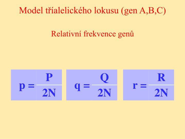 Model tříalelického lokusu (gen A,B,C)