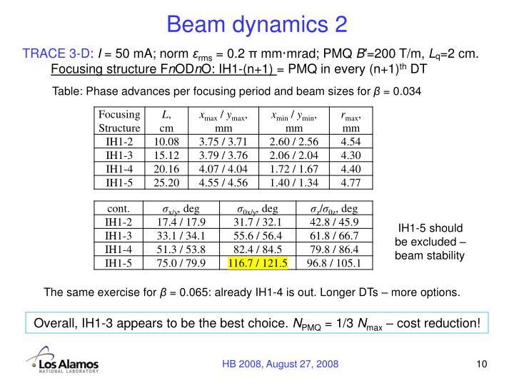 Beam dynamics 2