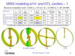 mws modeling of h and dtl cavities 1