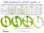 mws modeling of h and dtl cavities 2