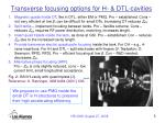 transverse focusing options for h dtl cavities