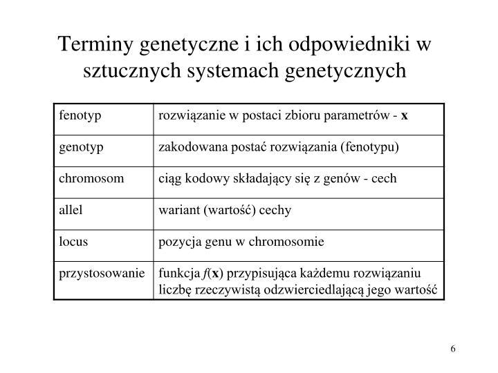 Terminy genetyczne i ich odpowiedniki w sztucznych systemach genetycznych