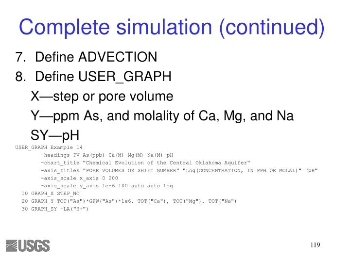 Complete simulation (continued)