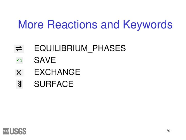 More Reactions and Keywords
