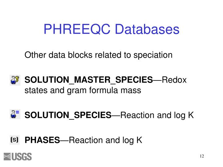 Other data blocks related to speciation