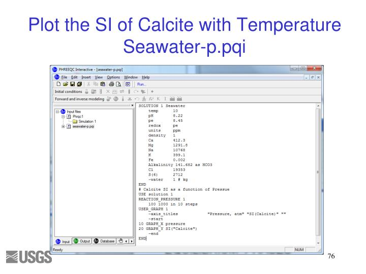 Plot the SI of Calcite with Temperature