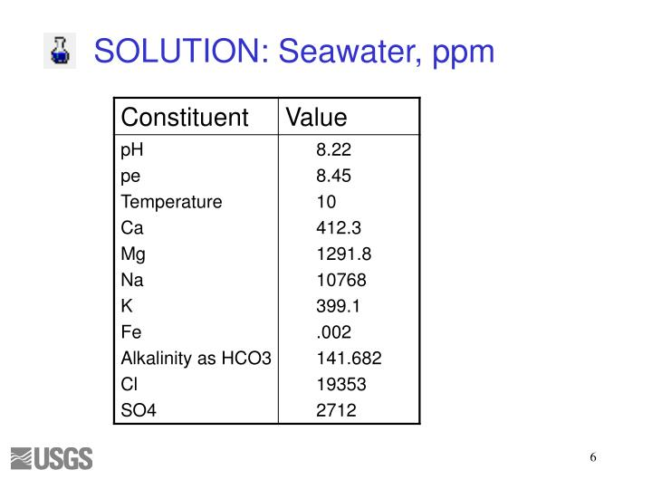 SOLUTION: Seawater, ppm